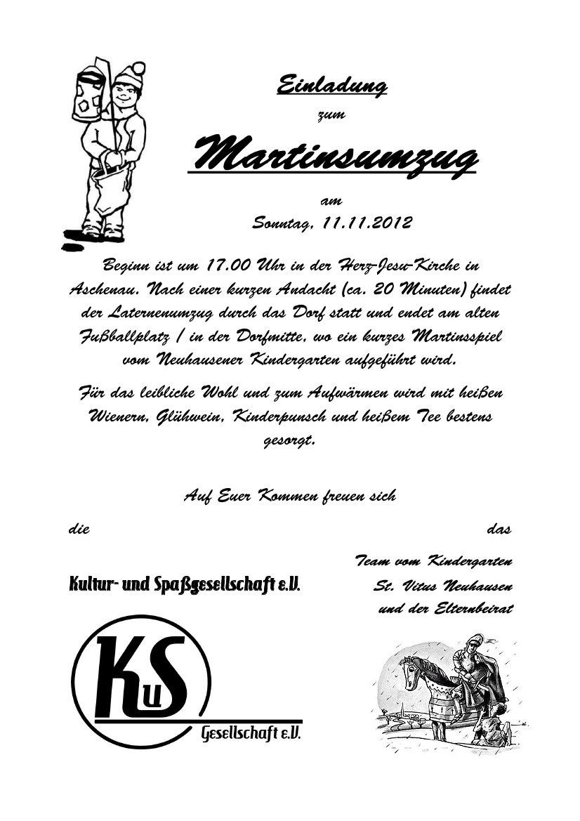 kultur- und spassgesellschaft e.v. » martinsumzug, Einladung